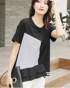 T Shirt年度勁減 任選2件即時8折優惠碼:CS220 (HK$128) - 條子雪紡拼接棉Tee - 4707A