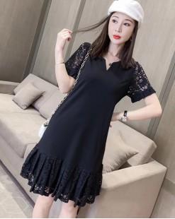【新品】哩士V領純棉短袖連身裙 - 4711A #全店新品4件起75折優惠碼 : -25OFF (HK$150)