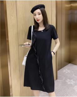 【新品】花邊拼接純棉短袖連身裙 - 4712A #全店新品4件起75折優惠碼 : -25OFF (HK$143)