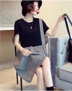 【新品】格仔拼接短袖連身裙 - 4725A #全店新品4件起75折優惠碼 : -25OFF (HK$135)