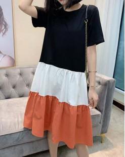 【新品】淨色布拼接純棉連身裙 - 4726A #全店新品4件起75折優惠碼 : -25OFF (HK$150)
