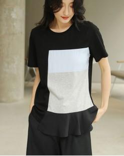 T Shirt年度勁減 任選2件即時8折優惠碼:CS220 (HK$128)  - 洗水布拼接純棉短Tee - 4751A