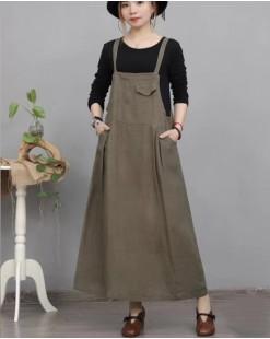 新品Hot sale 任選2件即時85折優惠碼:CS215 (HK$230 ) - 麻料背帶裙 - 4774A