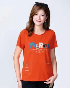 【新品】韓國直送G.O 英文字母短袖棉Tee - 4827C #全店新品4件起75折優惠碼 : -25OFF (HK$120)