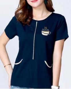 【新品】韓國直送G.O 印圖假袋短袖棉Tee - 4828C #全店新品4件起75折優惠碼 : -25OFF (HK$120)