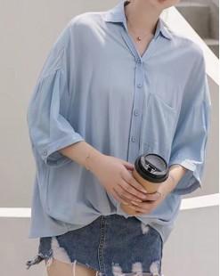 Final Sale 最後勁減,全場恤衫單件55折 - 淨色蝙蝠扣鈕恤衫 - 4889A