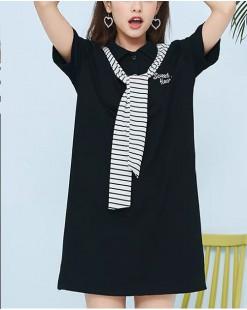 T Shirt年度勁減 任選2件即時8折優惠碼:CS220 (HK$136)  - 淨色搭條紋披肩長Tee - 4893A
