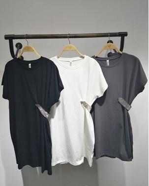 【新品】淨色收腰短袖連身裙 - 4906A #全店新品4件起75折優惠碼 : -25OFF (HK$128)