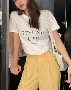 T Shirt年度勁減 任選2件即時8折優惠碼:CS220 (HK$64)  - 英文字純棉短Tee - 4909A