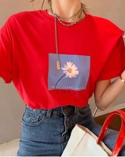 T Shirt年度勁減 任選2件即時8折優惠碼:CS220 (HK$64) - 太陽花純棉短Tee - 4910A