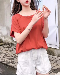 T Shirt年度勁減 任選2件即時8折優惠碼:CS220 (HK$96) - 淨色蝙蝠純棉短Tee - 4911A