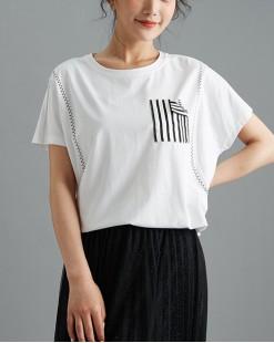 【新品】條紋衫袋純棉短Tee - 4963A #全店新品4件起75折優惠碼 : -25OFF (HK$113 )