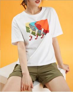 【新品】印圖短身純棉短Tee - 4967A #全店新品4件起75折優惠碼 : -25OFF (HK$113 )
