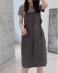Crazy Summer Sale 任選2件額外再9折優惠碼:CS210 (HK$184) -  短Tee背帶短裙套裝 - 4988A