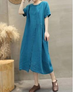 【新品】淨色棉麻連身裙 - 4992A #全店新品4件起75折優惠碼 : -25OFF (HK$180)