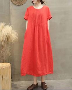 【新品】淨色棉麻連身裙 - 4993A #全店新品4件起75折優惠碼 : -25OFF (HK$180)