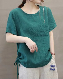 Final Sale 最後勁減,全場恤衫單件55折 - 淨色短袖麻料恤衫 - 4996A
