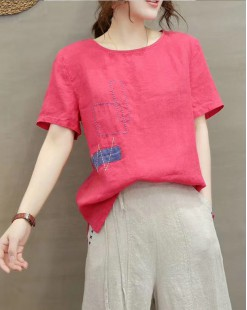 Final Sale 最後勁減,全場恤衫單件55折 -  淨色短袖麻料短Tee - 4997A