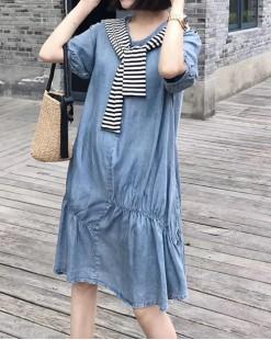 【新品】條紋披肩牛仔連身裙 - 5001A #全店新品4件起75折優惠碼 : -25OFF (HK$180)