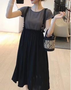 【新品】收腰背帶連身裙 - 5002A #全店新品4件起75折優惠碼 : -25OFF (HK$180)