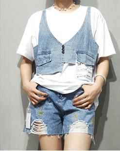 Final Sale 最後勁減,全場Tshirt單件75折 - 牛仔拼接純棉短Tee - 5020A