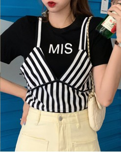 Final Sale 最後勁減,全場Tshirt單件75折 - 條紋拼接純棉短Tee - 5022A