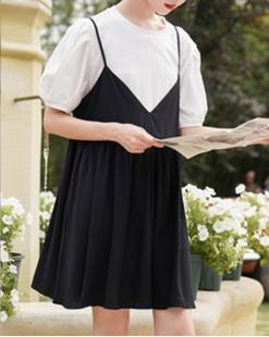 Final Sale 最後勁減,全場連身裙單件65折 - 淨色拼接連身裙 - 5030A