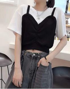 T Shirt年度勁減 任選2件即時8折優惠碼:CS220 (HK96)  - 背心假兩件純棉短Tee