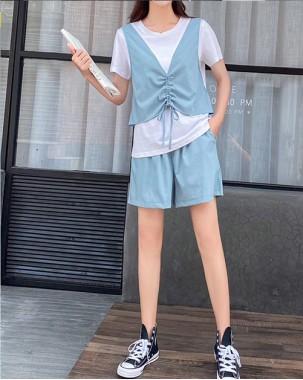 Crazy Summer Sale 任選2件額外再9折優惠碼:CS210 (HK$138) - Tee橡筋短褲套裝 - 5071A
