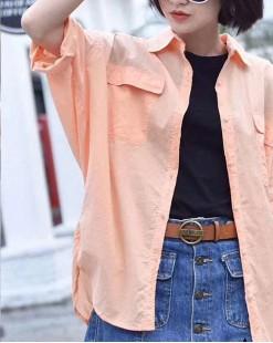 Final Sale 最後勁減,全場恤衫單件55折 -   淨色扣鈕恤衫 - 5078A