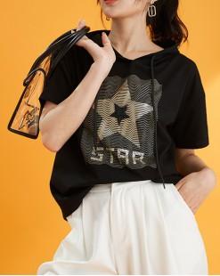 T Shirt年度勁減 任選2件即時8折優惠碼:CS220 (HK$120) - 星星有帽棉短Tee - 5091A