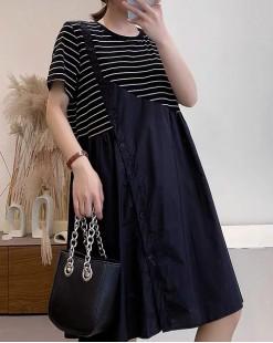 新品Hot sale 任選2件即時85折優惠碼:CS215 (HK$128 ) - 拼接鬆身連身裙 - 5192A