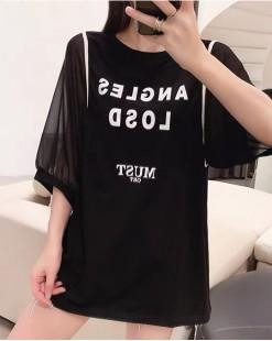 Crazy Summer 最後勁減,全場Tshirt單件82折 -  網紗袖純棉長Tee - 5194A