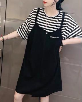 新品Hot sale 任選2件即時85折優惠碼:CS215 (HK$128 ) - 拼接假兩件連身裙 - 5195A