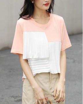 Crazy Summer 最後勁減,全場Tshirt單件82折 - 條紋拼接純棉短Tee - 5197A