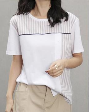 Crazy Summer 最後勁減,全場Tshirt單件82折 - 條紋拼接純棉短Tee - 5201A