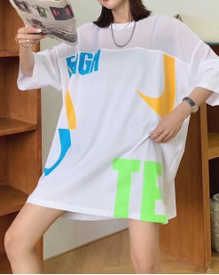 Final Sale 最後勁減,全場Tshirt單件75折 -  大英文短袖純棉長Tee - 5209A