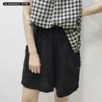 棉麻短褲 - 67789