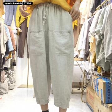 棉麻九分褲- 67790