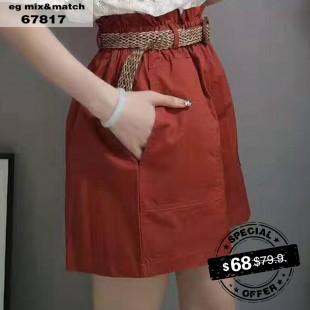 棉麻短褲 - 67817
