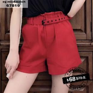 棉麻短褲 - 67819