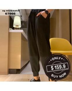 【新品】淨色窄腳橡筋褲 - 67866 #全店新品4件起75折:HK$120 #