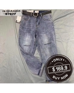 【新品】韓版簡約直筒牛仔褲 - 67877#全店新品4件起75折:HK$128#