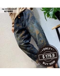 【新品】個性迷彩字母直筒褲 - 67880 #全店新品4件起75折:HK$135  #