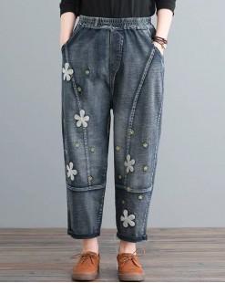 韓國S.believe寬鬆大碼繡花牛仔褲 - 67901 #全店新品4件起75折優惠碼:-25OFF (HK$150)  #
