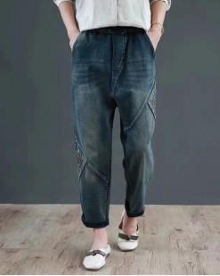 韓國S.believe寬鬆大碼橡筋直筒牛仔褲 - 67902 #全店新品4件起75折優惠碼:-25OFF (HK$150) #