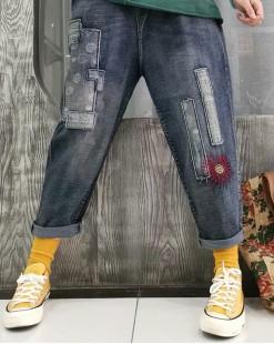 【新品】韓國S.believe寬鬆大碼字母繡花直筒牛仔褲 - 67904  #全店新品4件起75折:HK$150 #