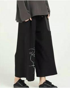 不規則圖案雙側口袋闊腳褲 - 67927#全店新品4件起75折優惠碼:-25OFF (HK$150) #