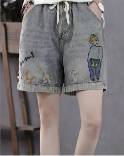 Final Sale 最後勁減,牛仔褲單件7折 -  靚女印花牛仔橡筋短褲 - 69021