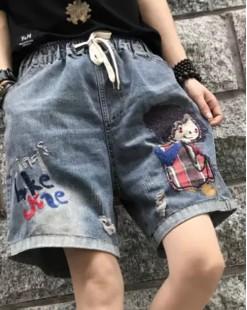 Final Sale 最後勁減,牛仔褲單件7折 -  卷髮靚女印花牛仔橡筋短褲 - 69022